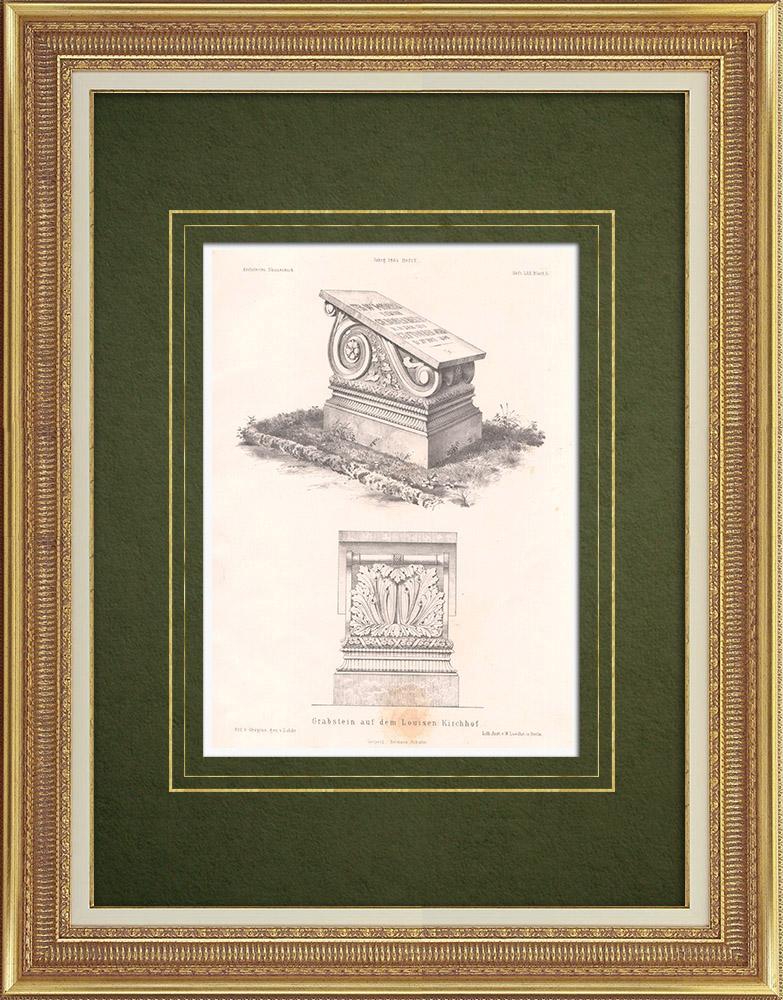 Grabados & Dibujos Antiguos | Tumba en el cementerio de Sta. Luisa en Berlín (Alemania) | Litografía | 1864