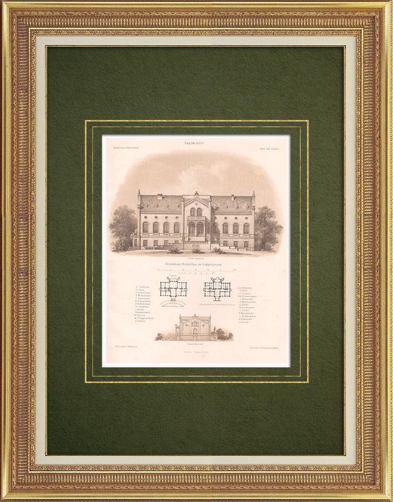 Stampe Antiche & Disegni | Mansion di Rodele (Prussia Orientale) | Litografia | 1865