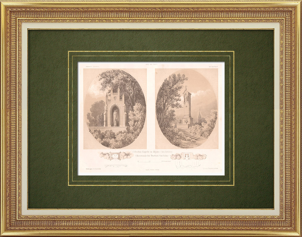 Antique Prints & Drawings   Chapel in Mgowo near Rehden - Stele near Trzebcz (Poland)   Lithography   1864