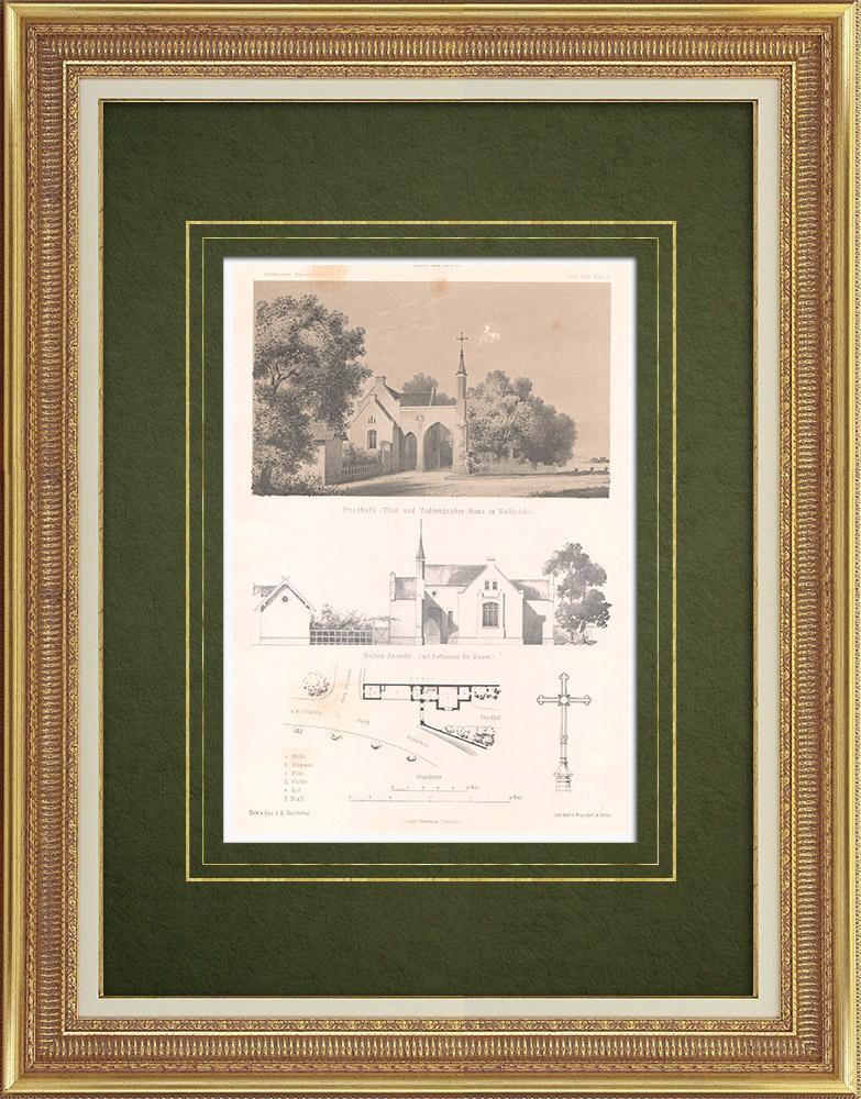 Stampe Antiche & Disegni   Cimitero di Wielkalaka vicino a Schönsee (Germania)    Litografia   1865