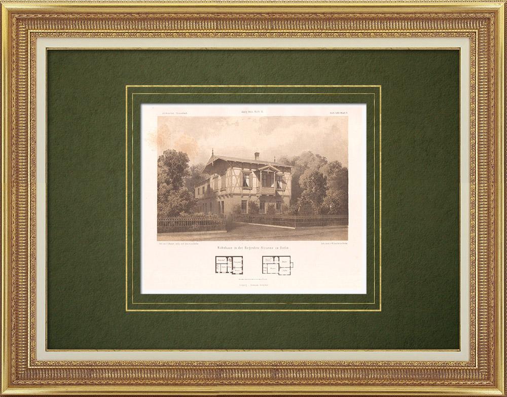 Gravures Anciennes & Dessins | Maison dans Regenten Strasse à Berlin (Allemagne) | Lithographie | 1865