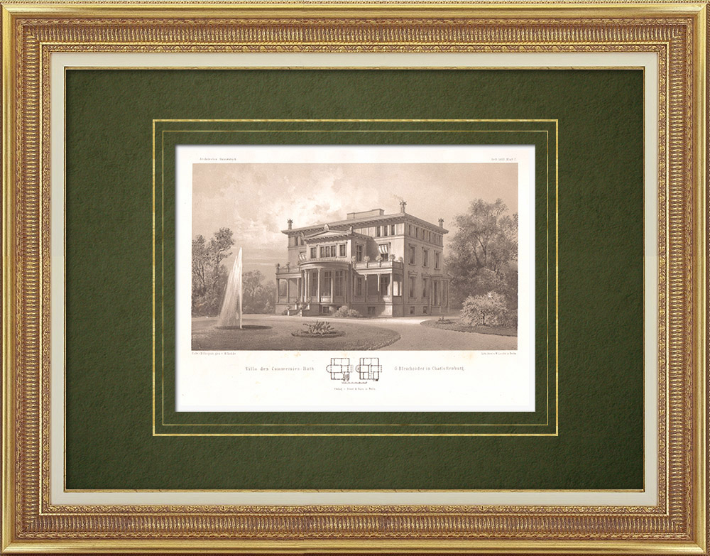 Antique Prints & Drawings | House in Charlottenburg (Germany) | Lithography | 1865