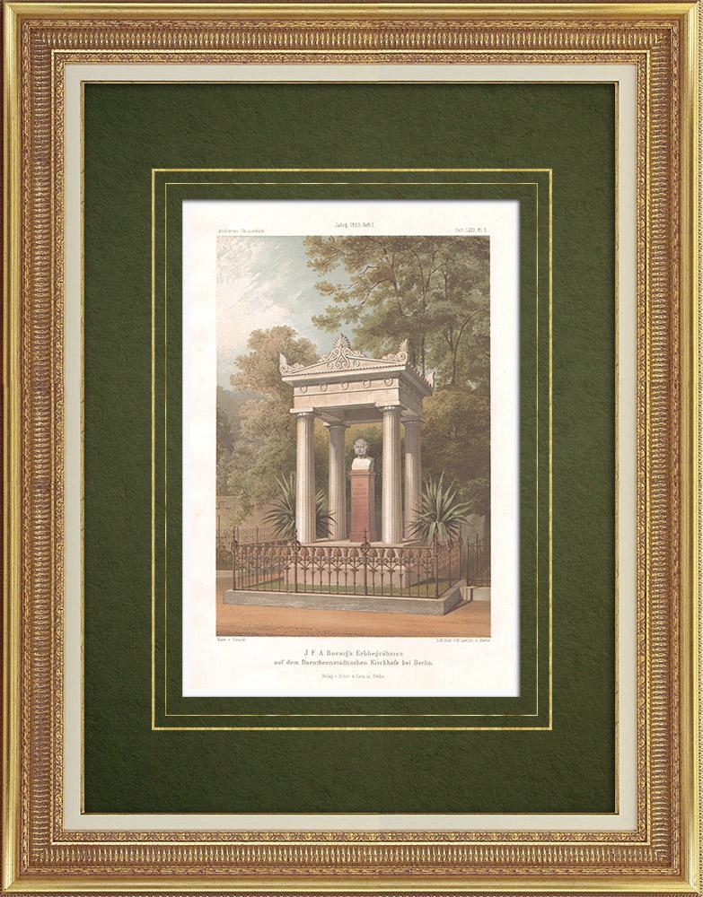 Stampe Antiche & Disegni   Tomba nel Cimitero Dorotheenstädt di Berlino (Germania)   Litografia   1865