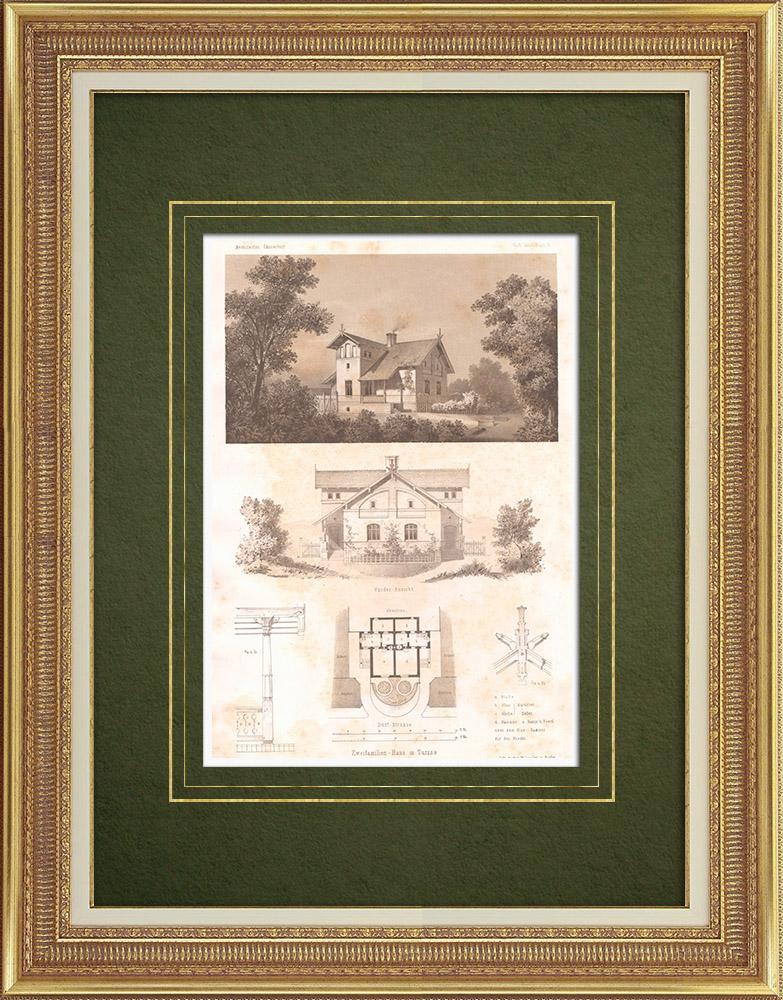 Grabados & Dibujos Antiguos | Casa en Turzno (Polonia) | Litografía | 1865