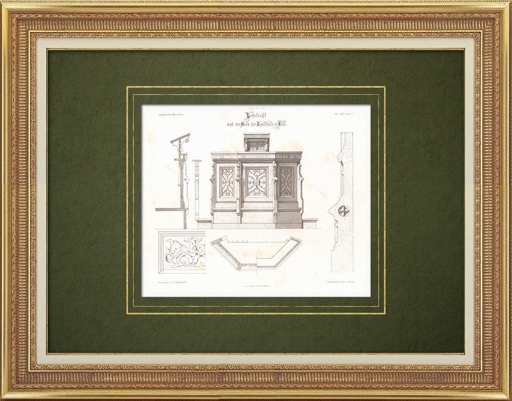 Stampe Antiche & Disegni | Realschule a Colonia (Germania) | Litografia | 1865