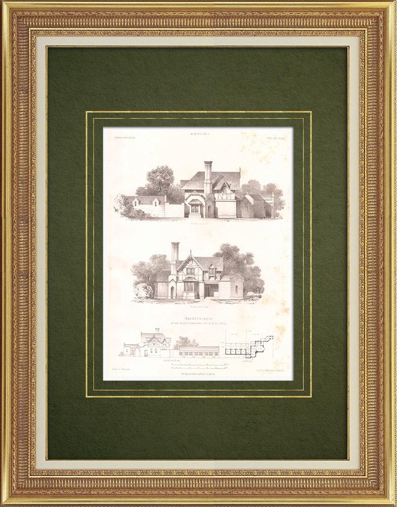 Stampe Antiche & Disegni | Canile al Castello di Callenberg vicino a Coburgo (Germania) | Litografia | 1865