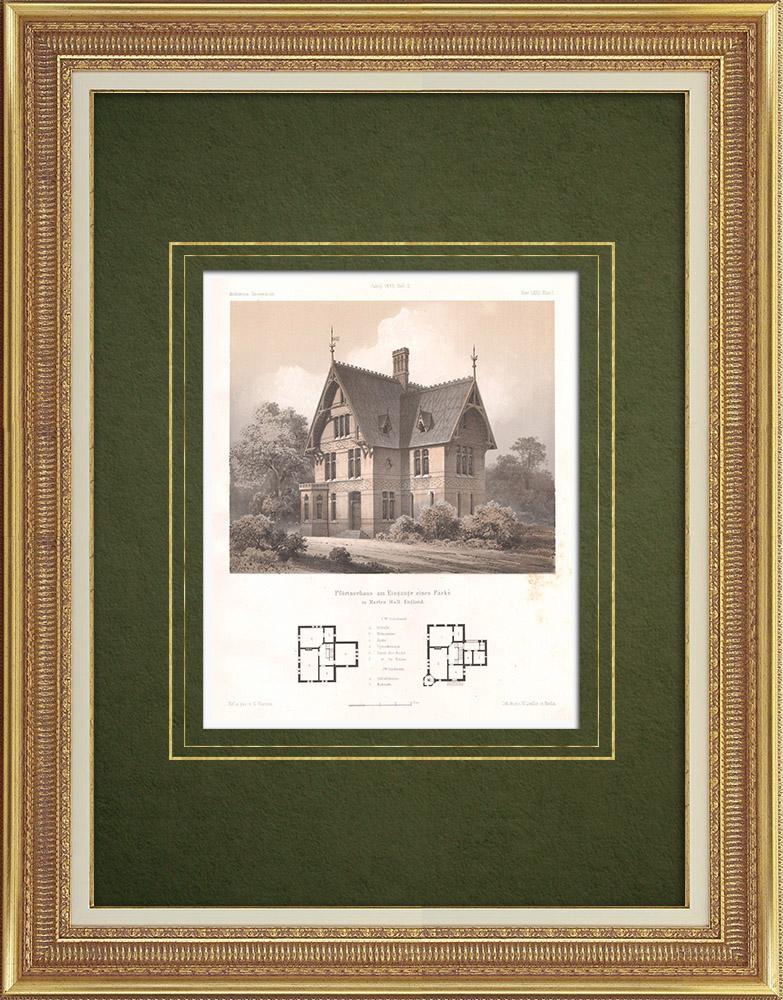 Stampe Antiche & Disegni | Marton Hall Park guardiano abitazione (Inghilterra) | Litografia | 1865