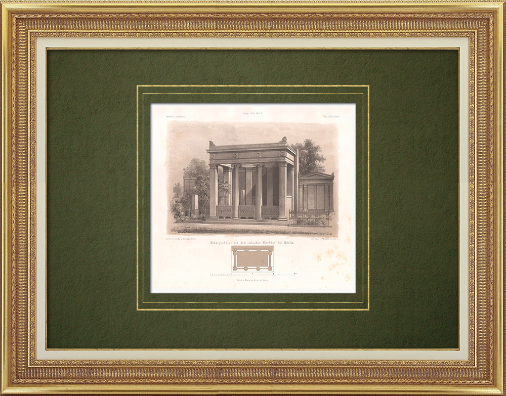 Antique Prints & Drawings   Family grave at the Jewish cemetery in Berlin (Germany)   Lithography   1865
