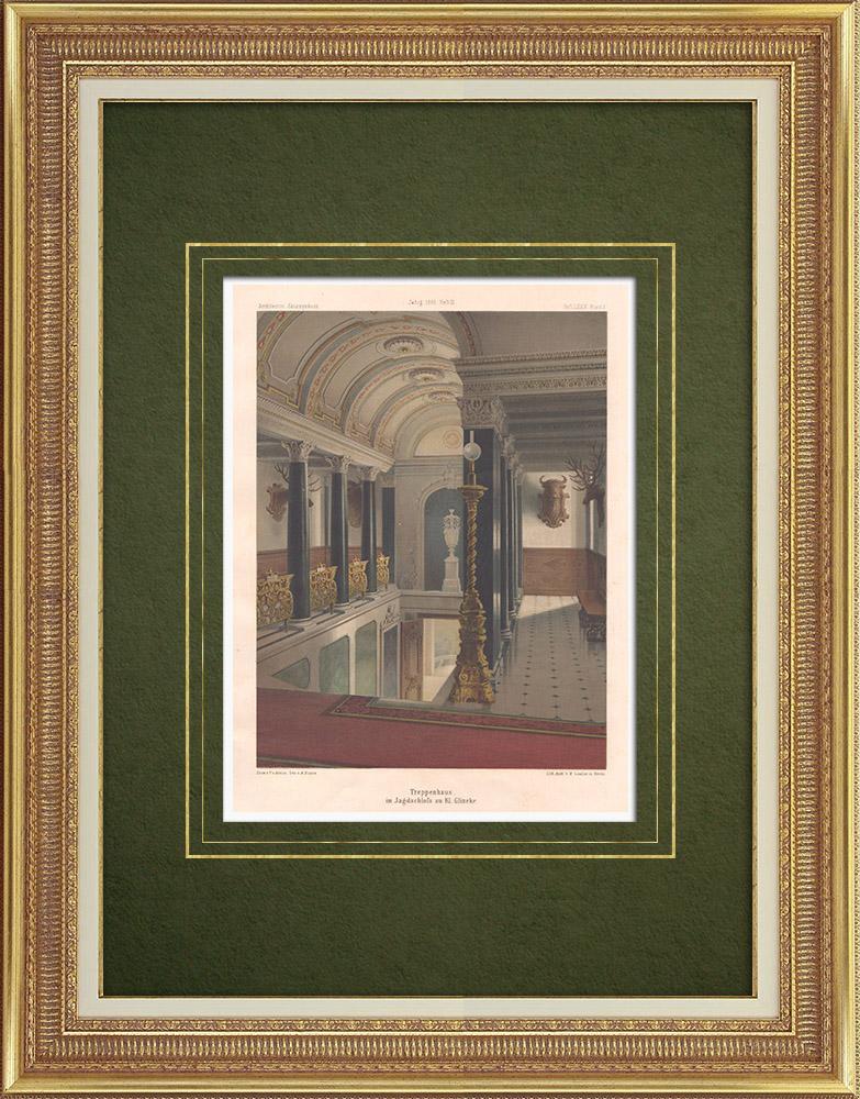 Stampe Antiche & Disegni | Rampa delle mansion a Klein Glienicke vicino a Potsdam (Germania) | Litografia | 1865