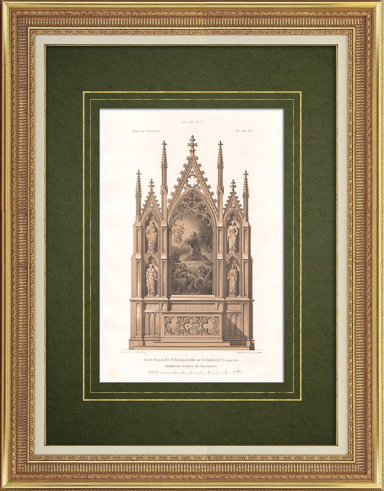 Stampe Antiche & Disegni | Altare della chiesa a Greifenhagen (Germania) | Litografia | 1865