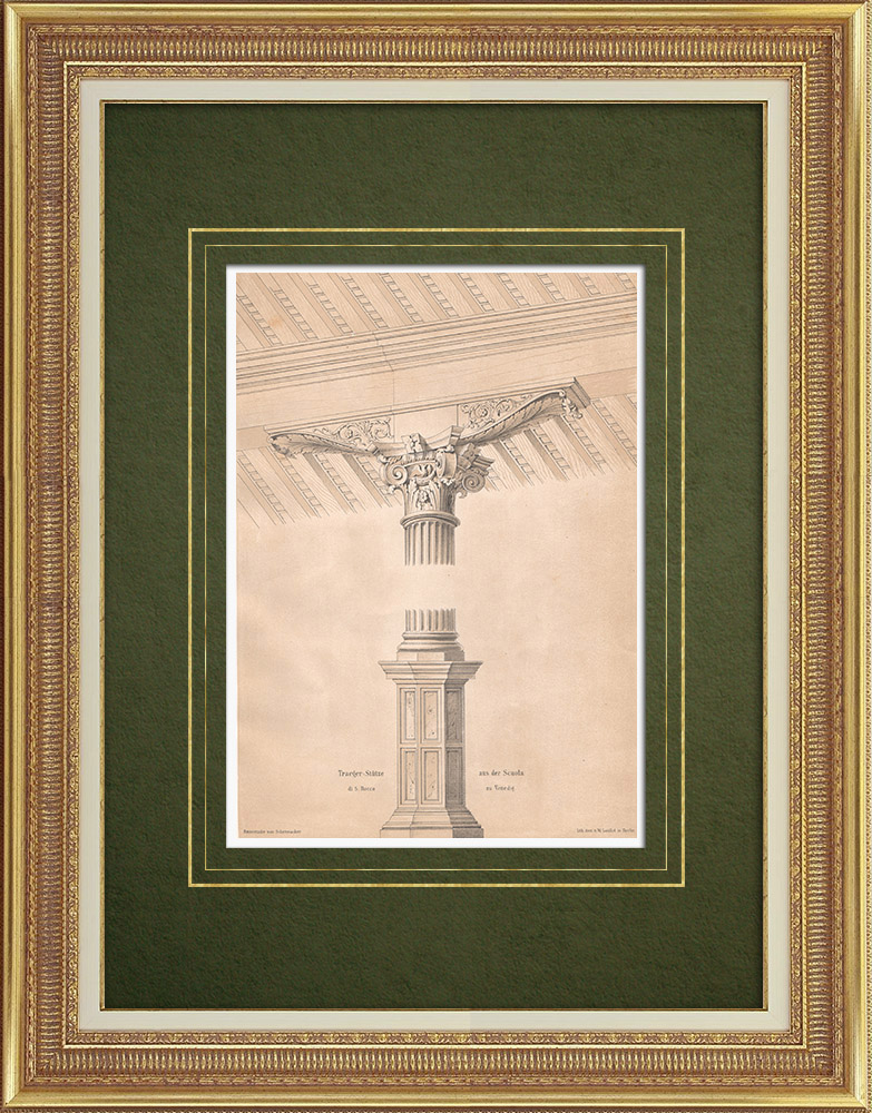 Antique Prints & Drawings | Column and console in Scuola Grande di S. Rocco in Venice (Italy) | Lithography | 1865