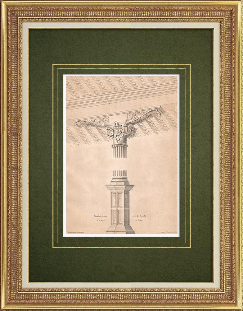 Stampe Antiche & Disegni | Colonna e mensola a Scuola Grande di S. Rocco a Venezia (Italia) | Litografia | 1865