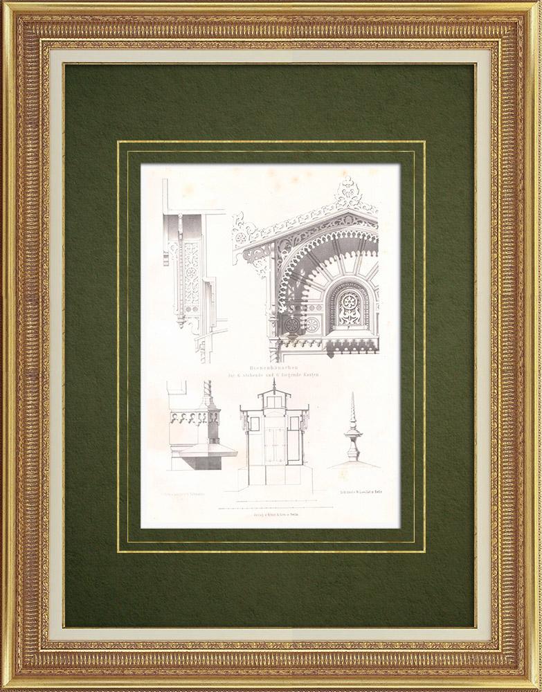 Gravures Anciennes & Dessins | Abri pour douze ruches (Allemagne) | Lithographie | 1865