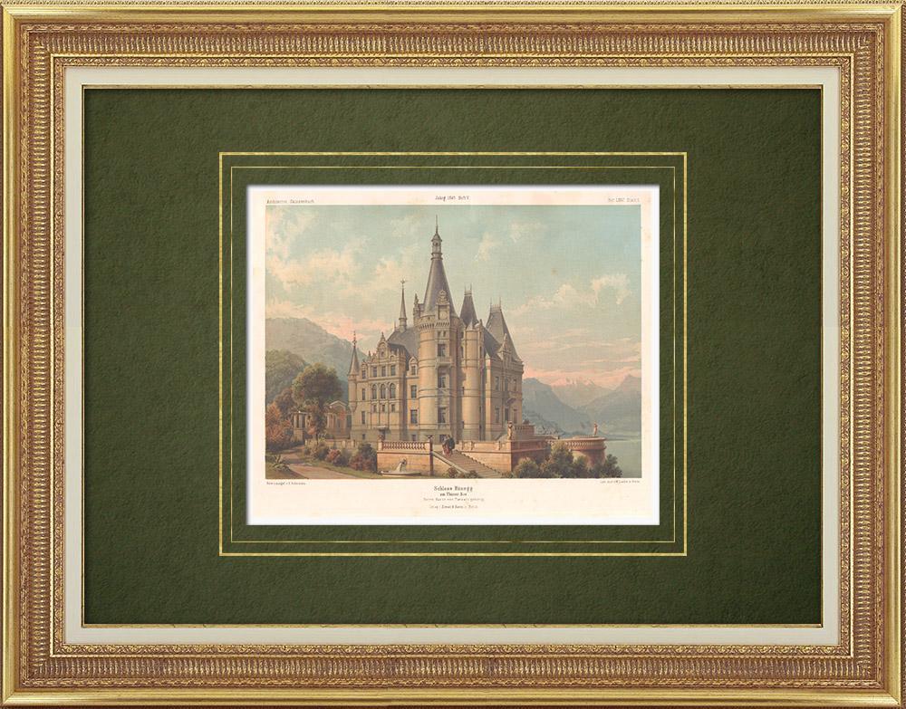 Stampe Antiche & Disegni | Castello di Hünegg sulle rive del lago di Thun (Svizzera) | Litografia | 1865