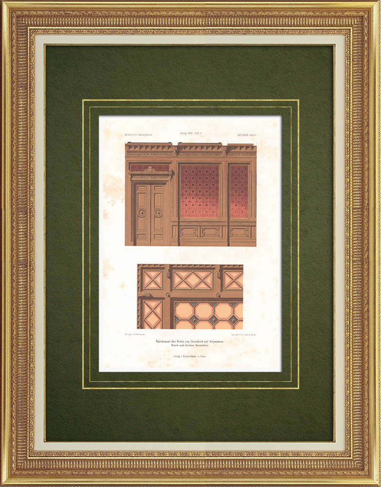 Antique Prints & Drawings | Dining Room in Beynuhnen (East Prussia) | Lithography | 1865