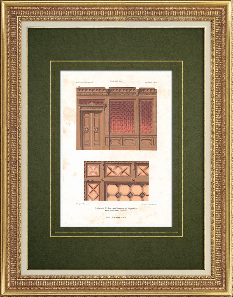 Grabados & Dibujos Antiguos | Comedor en Beynuhnen (Prusia Oriental) | Litografía | 1865