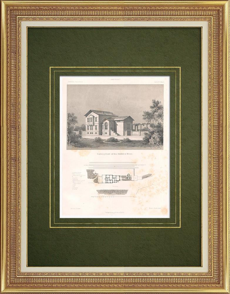 Stampe Antiche & Disegni | Stazione ferroviaria di Briesen (Germania) | Litografia | 1865