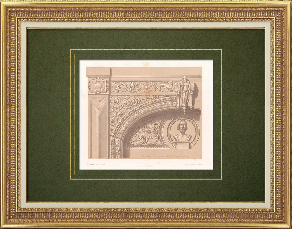 Antique Prints & Drawings | Decoration of a house Place Saint-Georges in Paris (France) | Lithography | 1865