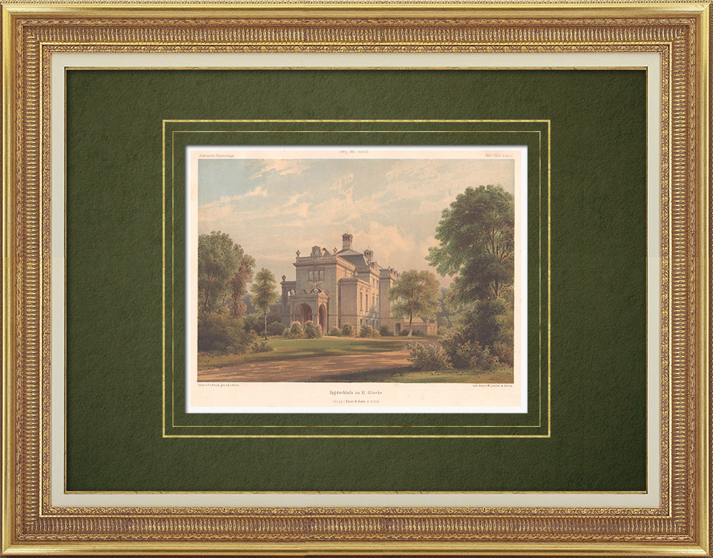 Antique Prints & Drawings   Mansion in Klein Glienicke near Potsdam (Germany)    Lithography   1865