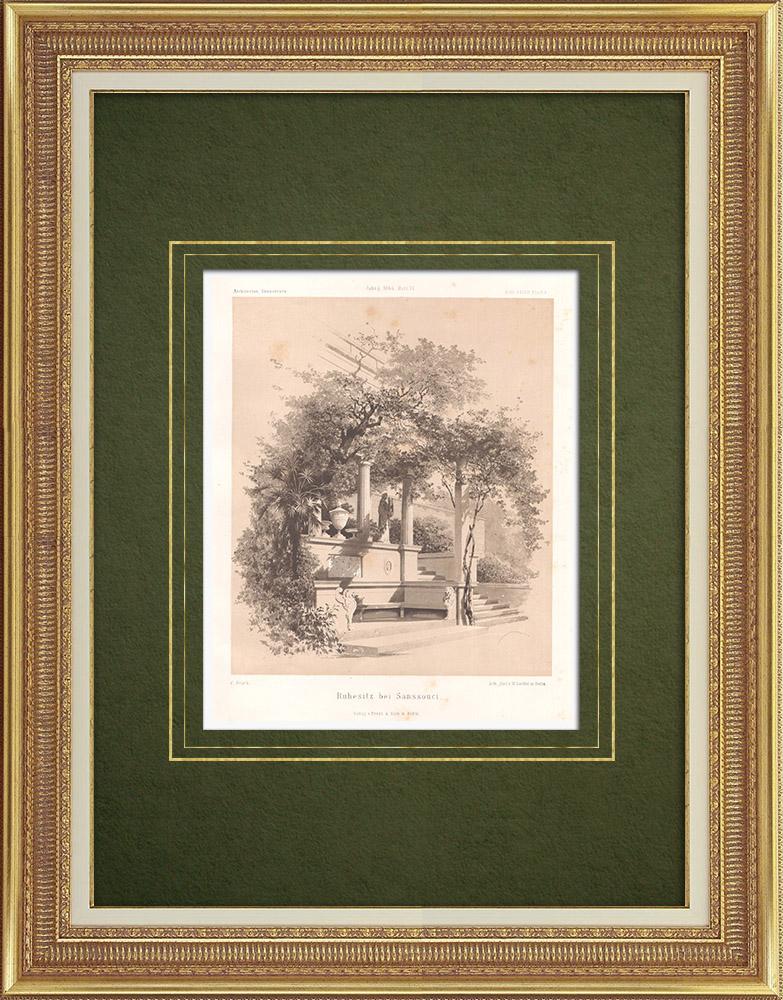 Stampe Antiche & Disegni   Luogo di riposo vicino a Sanssouci (Germania)   Litografia   1865