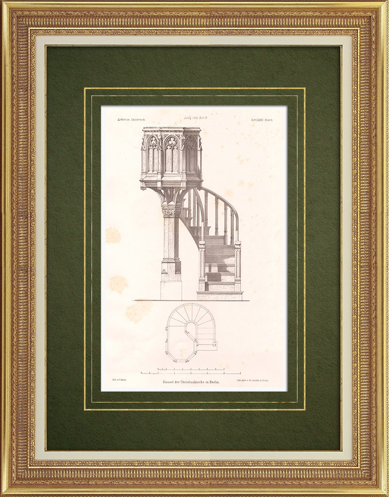 Antique Prints & Drawings | Pulpit in Christus-Kirche zu Berlin (Germany)  | Lithography | 1865