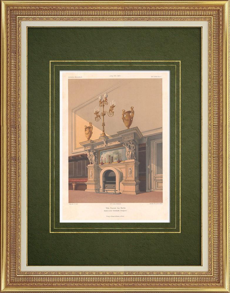 Antika Tryck & Ritningar | Härd i Villa Ravené nära Berlin (Tyskland) | Litografi | 1866