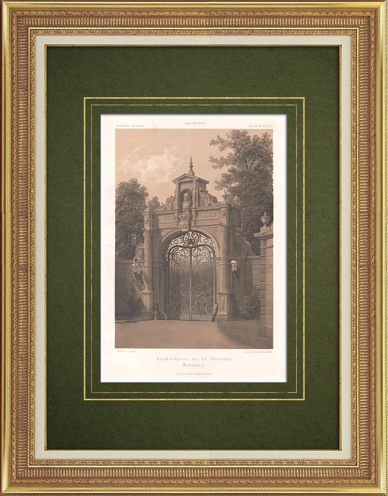 Stampe Antiche & Disegni | Entrata delle mansion a Klein Glienicke vicino a Potsdam (Germania) | Litografia | 1866