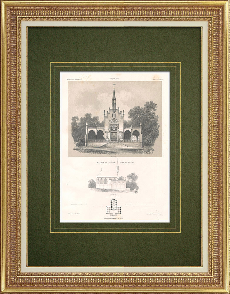 Antique Prints & Drawings   Chapel in a park in Silbitz (Germany)   Lithography   1865