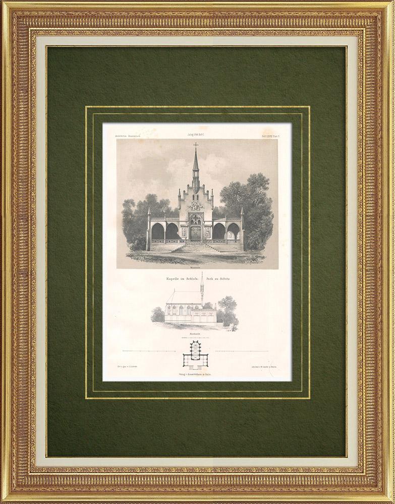 Stampe Antiche & Disegni | Cappella in un parco a Silbitz (Germania) | Litografia | 1865