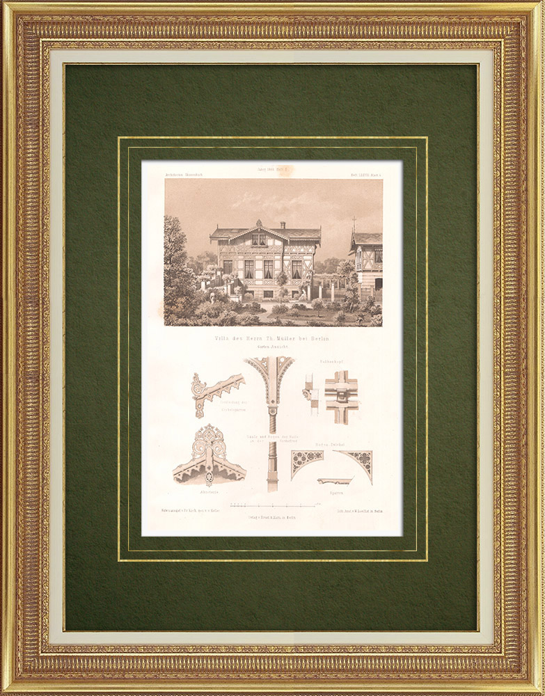 Antique Prints & Drawings | Villa Müller near Berlin (Germany) | Lithography | 1865