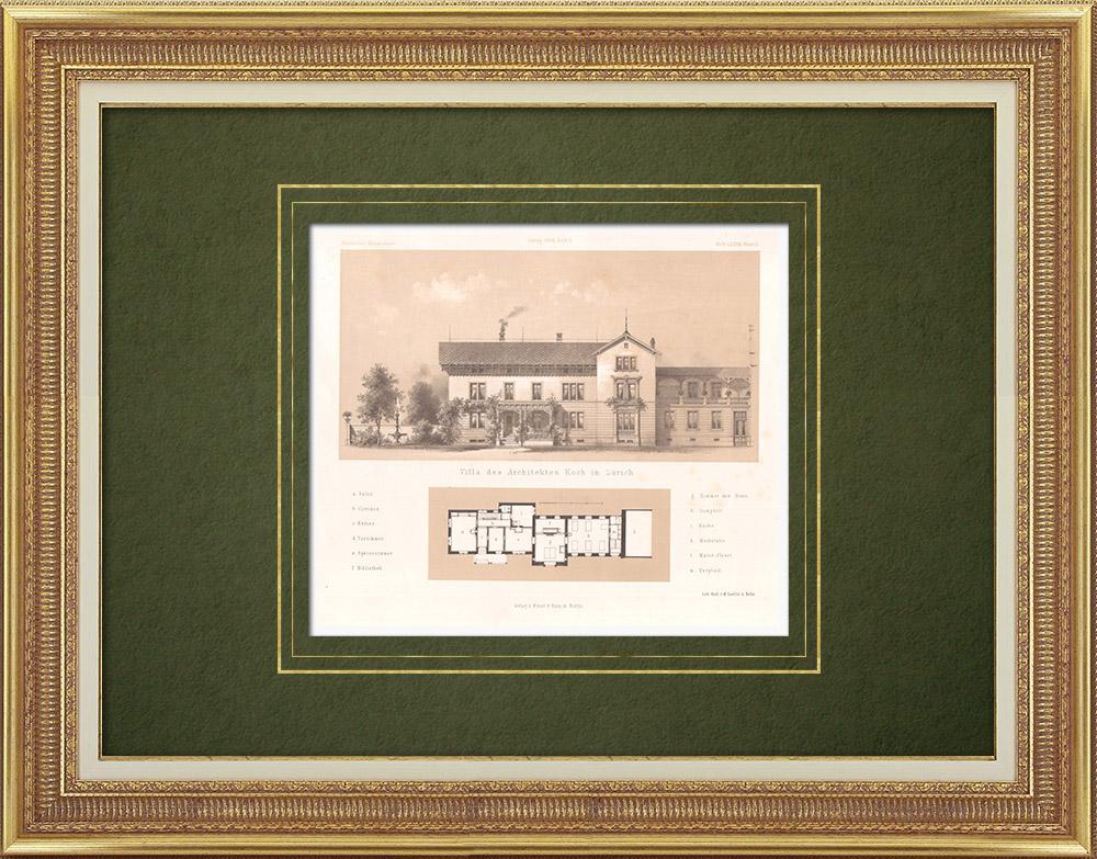 Stampe Antiche & Disegni | Villa Koch a Zurigo (Svizzera) | Litografia | 1865