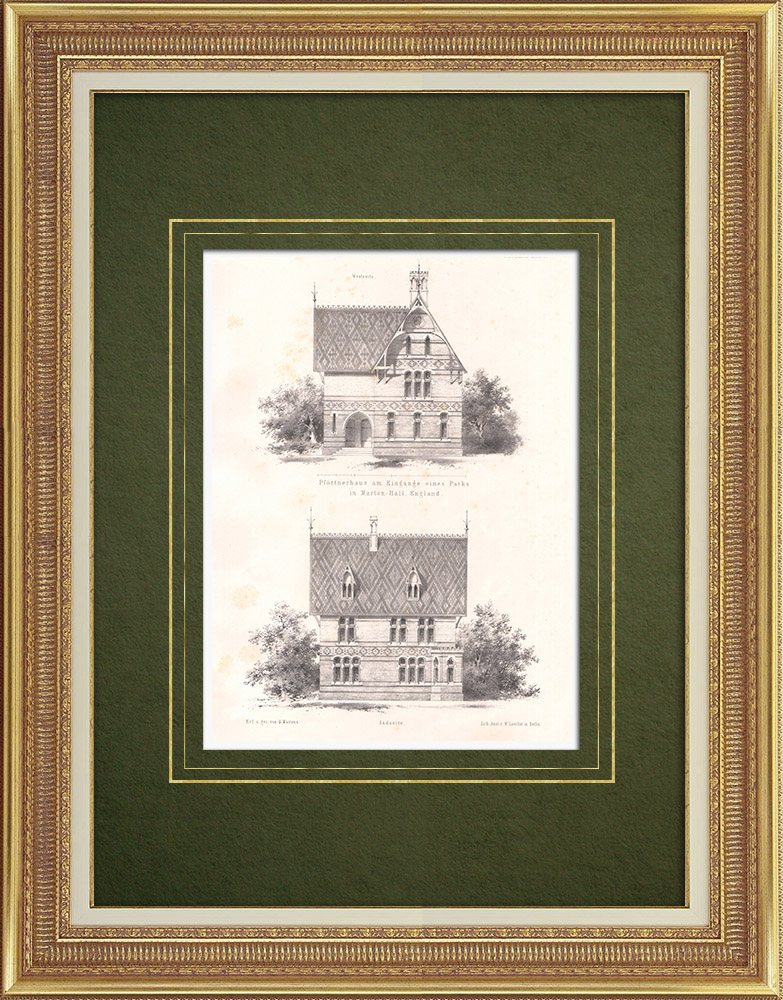 Antique Prints & Drawings | Marton Hall Park doorman's house (England) | Lithography | 1866