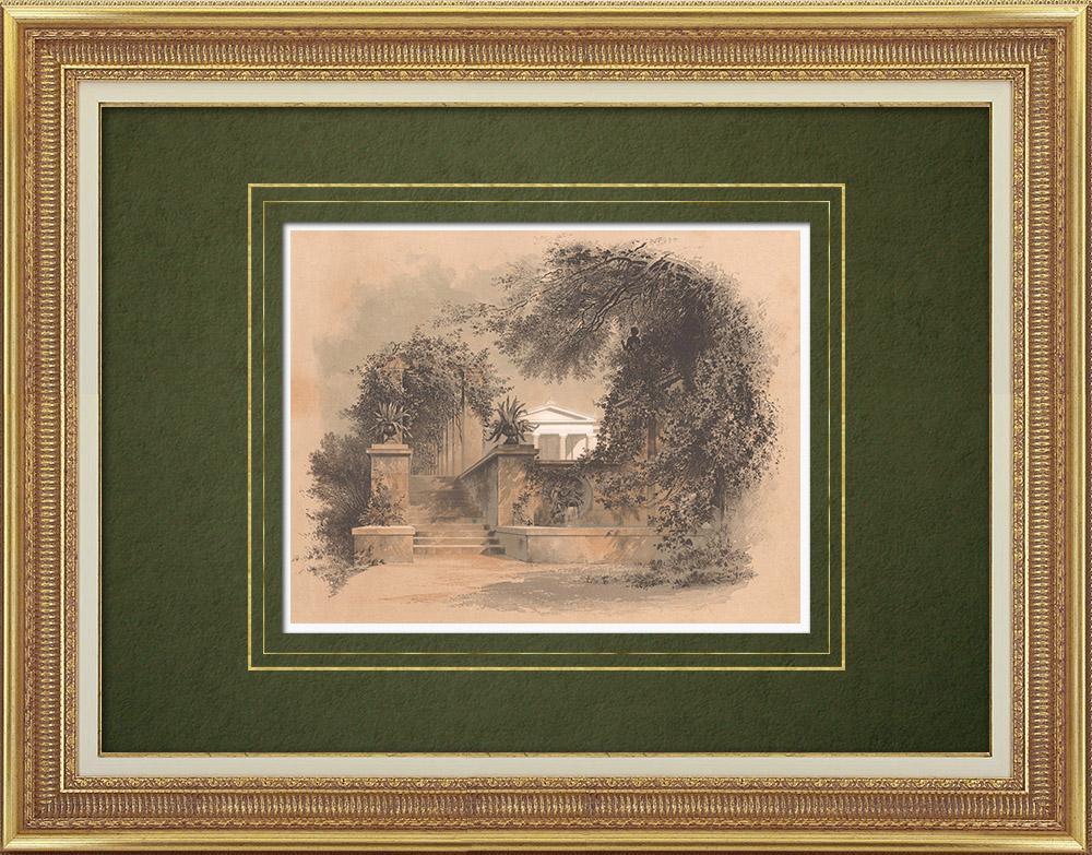 Stampe Antiche & Disegni | Giardino al Charlottenhof (Germania) | Litografia | 1865