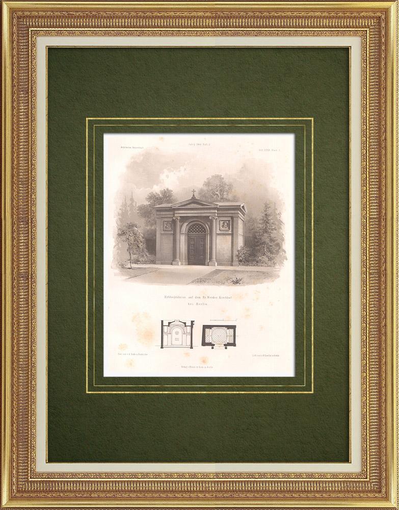 Stampe Antiche & Disegni | Tomba nel Friedrichswerderscher Friedhof vicino a Berlino (Germania) | Litografia | 1865