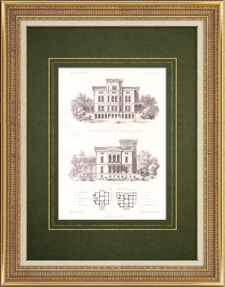 Stampe Antiche & Disegni | Casa a Bonn (Germania) | Litografia | 1865
