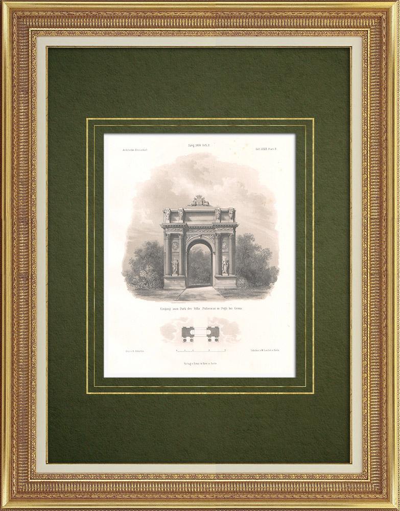 Antique Prints & Drawings | Park of the Villa Pallavicini in Pegli near Genoa (Italy) | Lithography | 1865