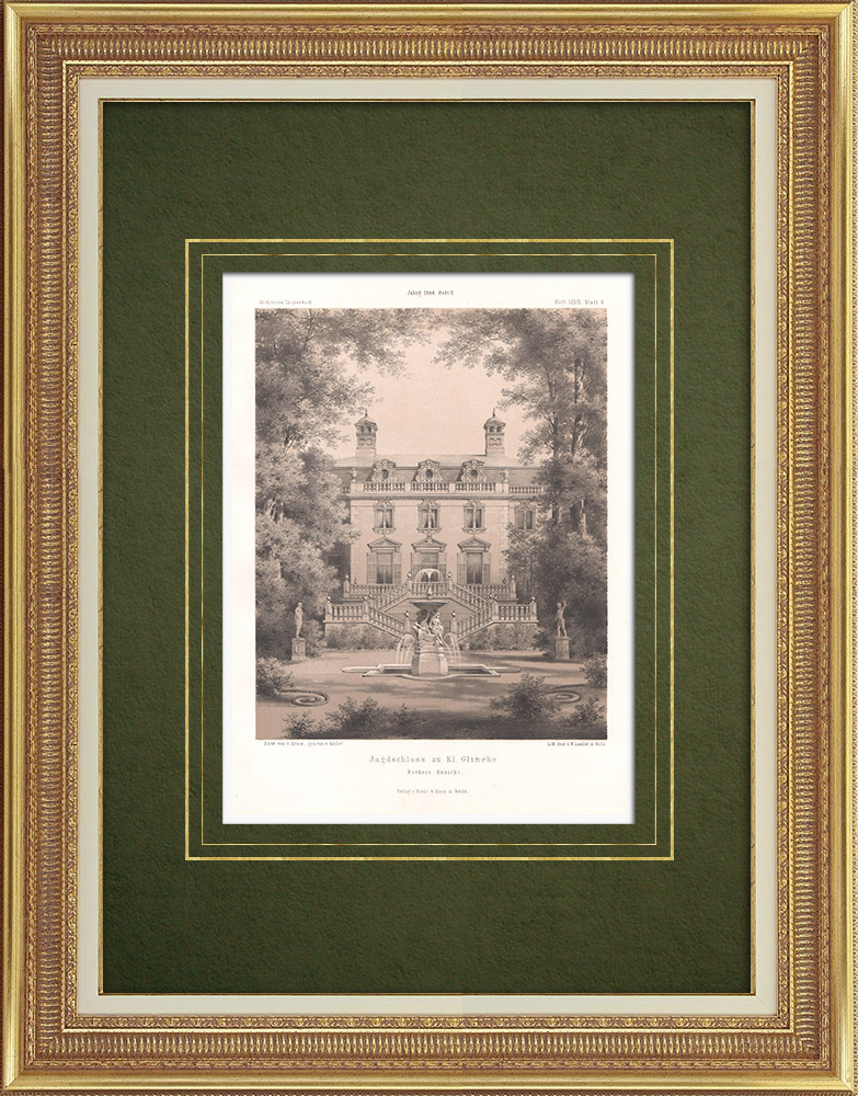 Grabados & Dibujos Antiguos | Mansión en Klein Glienicke cerca de Potsdam (Alemania) | Litografía | 1866