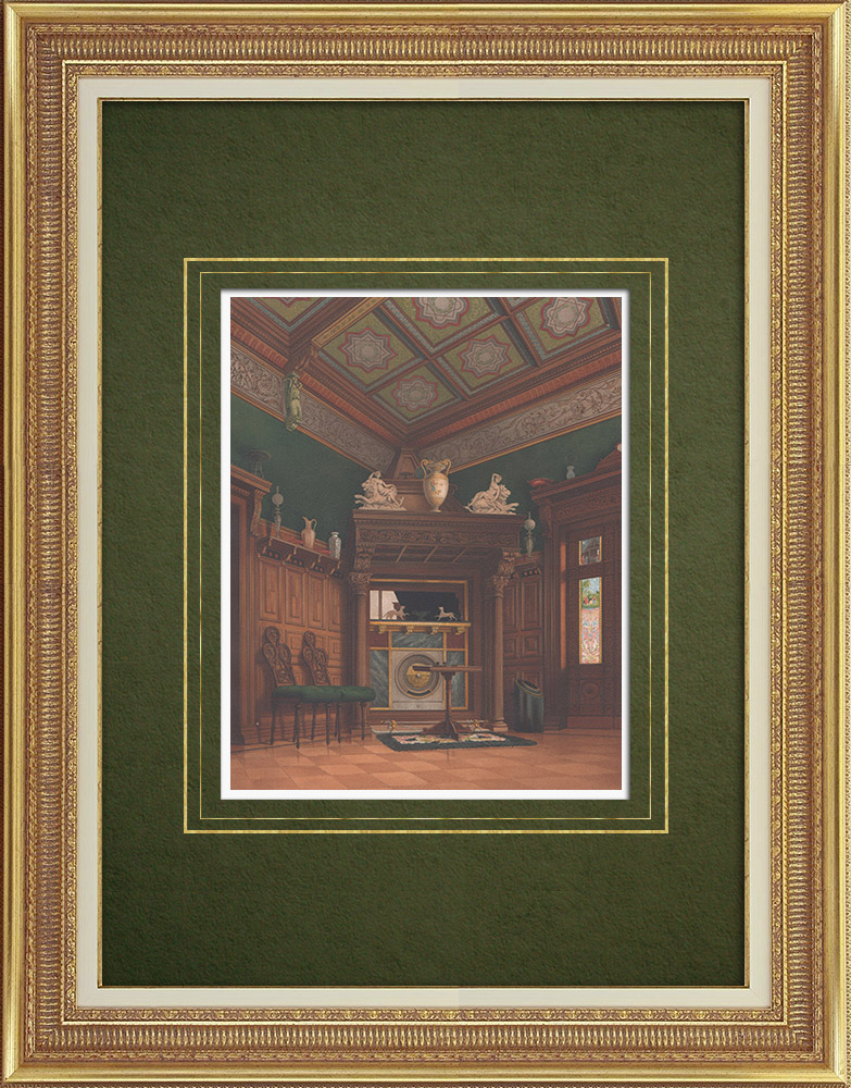 Antique Prints & Drawings   Fireplace in the Villa Ravené near Berlin (Germany)   Lithography   1865
