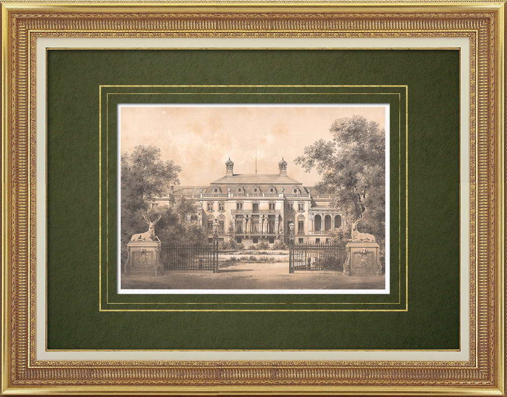 Antique Prints & Drawings | Mansion in Klein Glienicke near Potsdam (Germany)  | Lithography | 1866