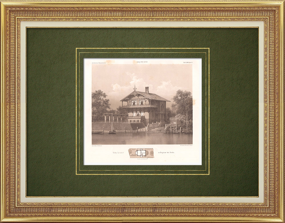 Antique Prints & Drawings | Villa Landré in Treptow near Berlin (Germany) | Lithography | 1866