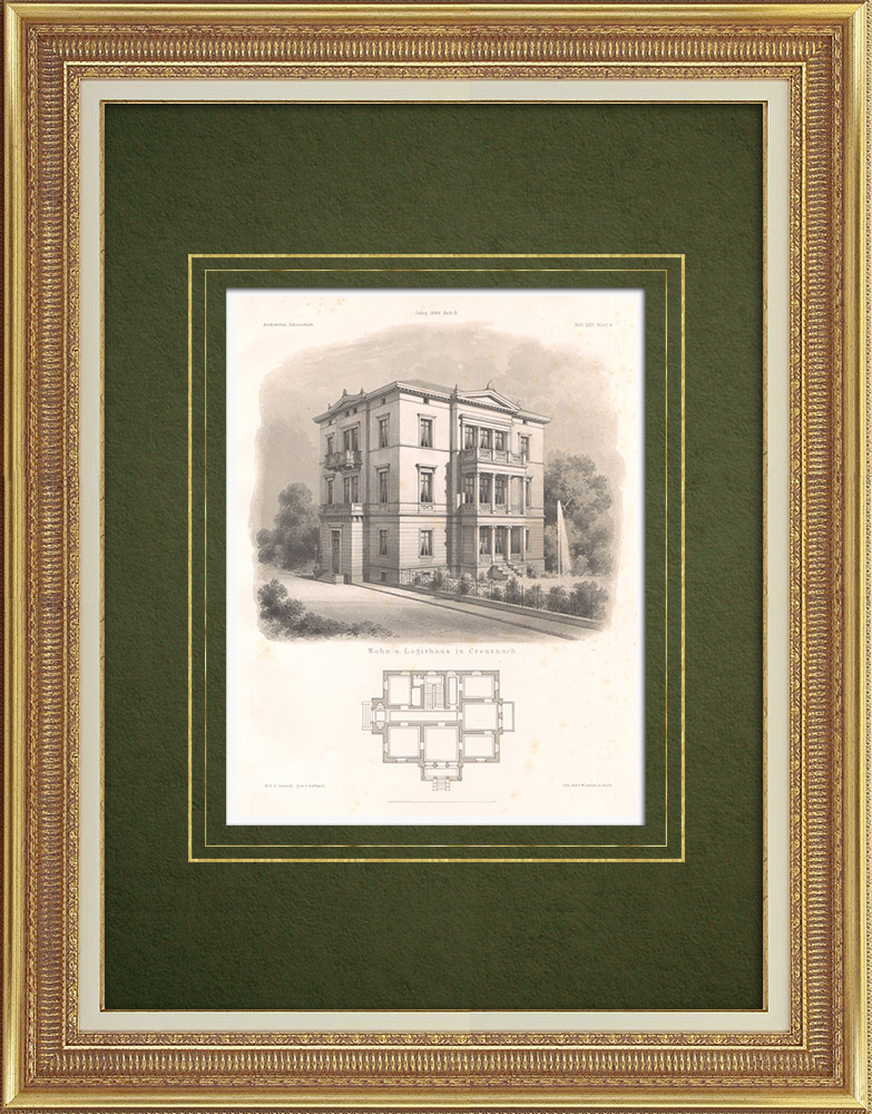 Stampe Antiche & Disegni | Casa a Kreuznach (Germania) | Litografia | 1865