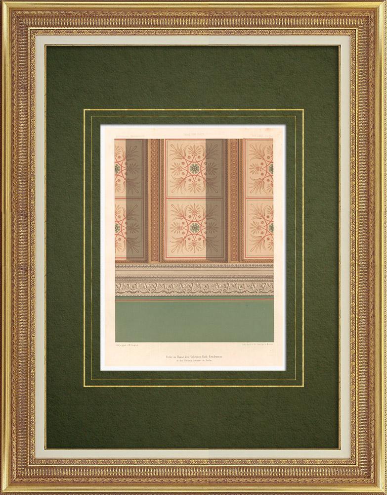 Stampe Antiche & Disegni | Soffitto di una casa a Berlino (Germania) | Litografia | 1865