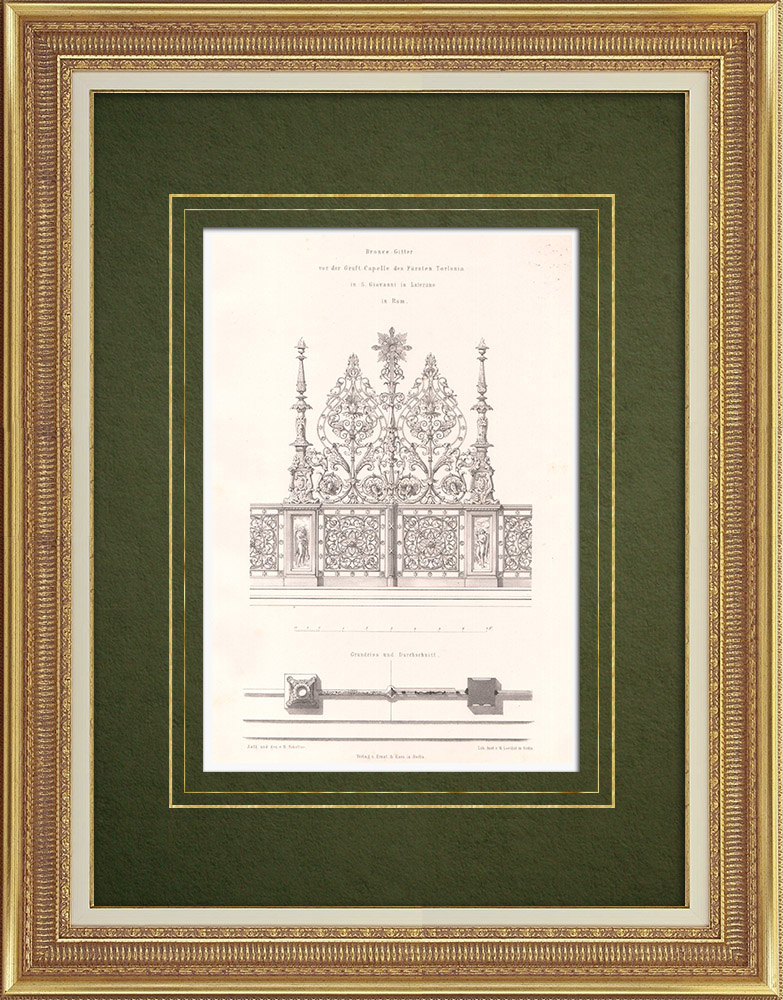 Antique Prints & Drawings   Funeral Chapel in St. John Lateran in Rome (Italy)    Lithography   1865