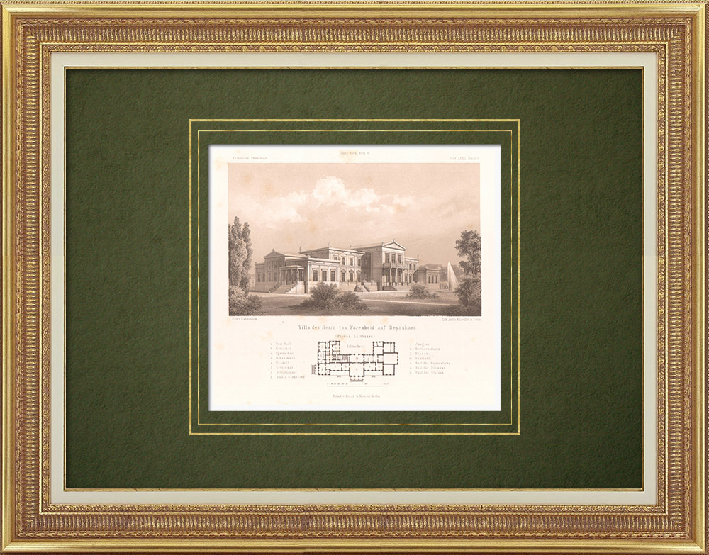 Stampe Antiche & Disegni | Casa di Sig. Fahrenheid a Beynuhnen (Prussia Orientale) | Litografia | 1865