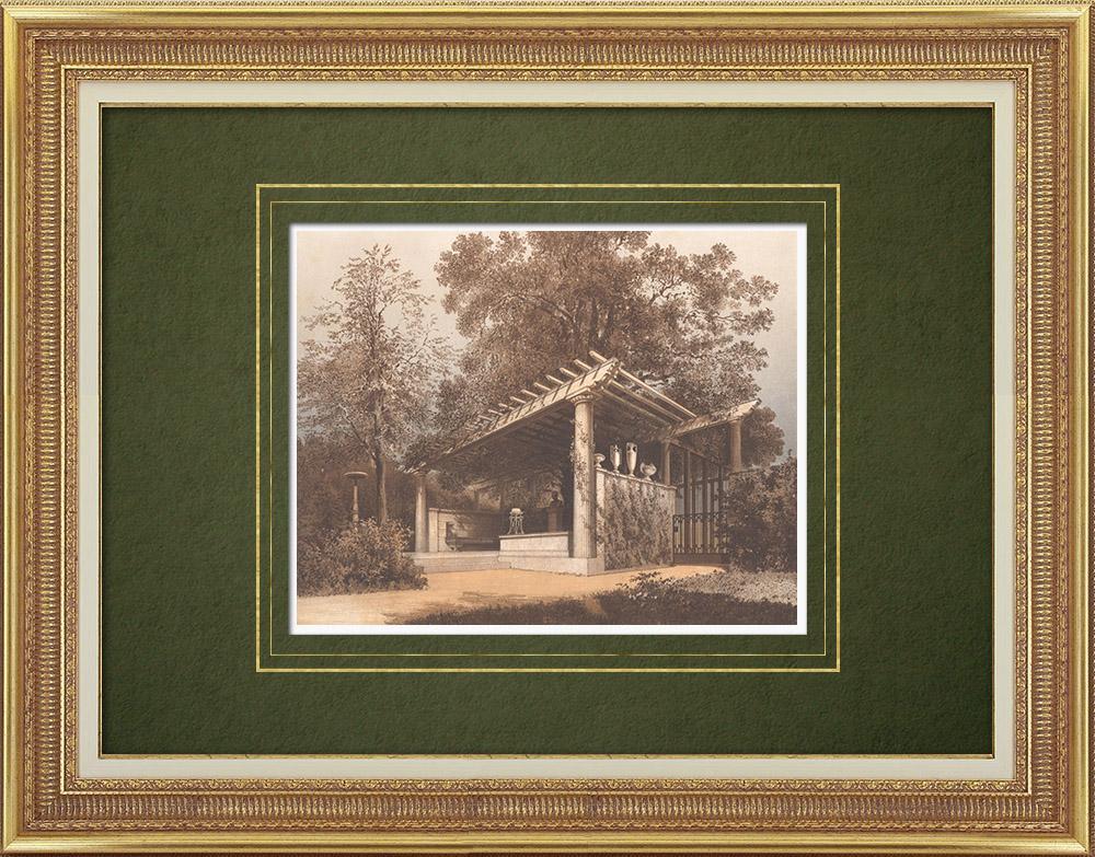 Stampe Antiche & Disegni | Luogo di riposo sotto una quercia nella Villa Ravené (Germania) | Litografia | 1865