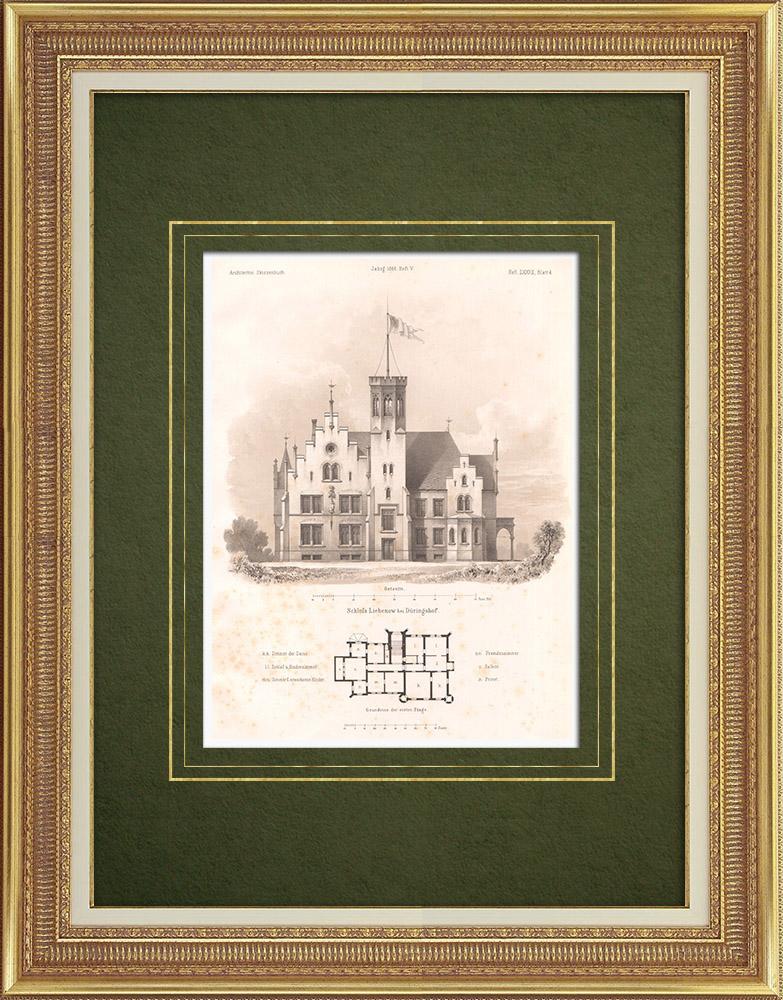 Antique Prints & Drawings | Liebenow Castle near Bogdaniec (Poland) | Lithography | 1865