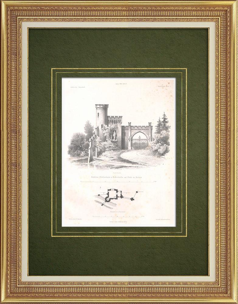 Stampe Antiche & Disegni | Porta delle parco ed abitazione delle guardiano a Dobra (Polonia) | Litografia | 1865