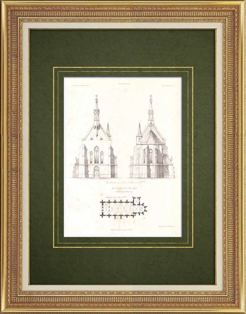 Stampe Antiche & Disegni   Chiesa cattolica di Quedlinburg (Germania)   Litografia   1866