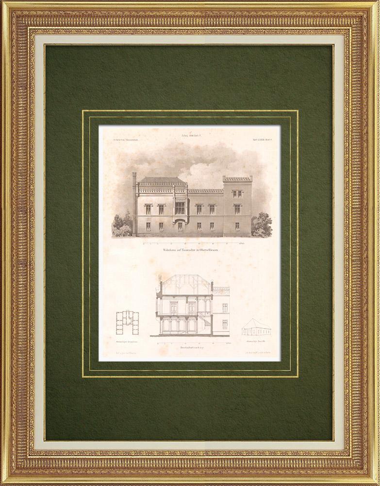 Stampe Antiche & Disegni | Casa a Rozwadza a Alta Slesia (Polonia) | Litografia | 1866
