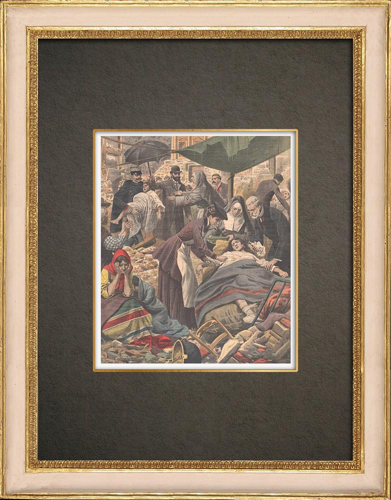 Stampe Antiche & Disegni | Terremoto nello stretto di Messina - Italia - Dic.1908 | Incisione xilografica | 1909